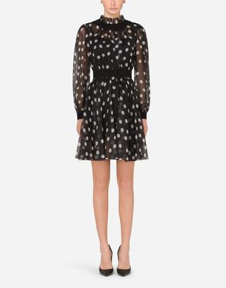 Dolce & Gabbana Short Polka-Dot-Print Organza Dress