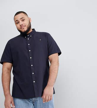 Farah Brewer slim fit short sleeve oxford shirt in navy