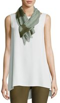 Eileen Fisher Colorblocked Silk Shibori Scarf, Olive