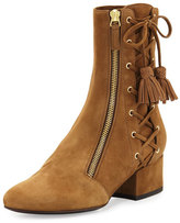 Laurence Dacade Marcella Side-Zip Lace-Up Suede Boot, Tan