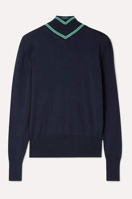 Maggie Marilyn Make A Difference Striped Merino Wool Turtleneck Sweater - Midnight blue