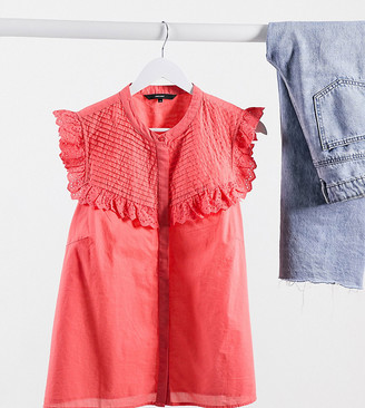 Vero Moda Curve blouse with frill detail in pink