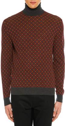 Prada Men's Argyle Turtleneck Sweater
