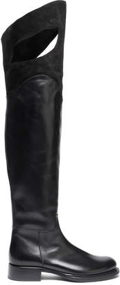 Ann Demeulemeester Cutout Suede-paneled Polished Leather Over-the-knee Boots