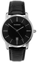 Sekonda 3346.27 Classic Baton Marker Leather Strap Watch, Black