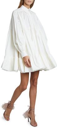 Valentino Puff-Sleeve Tiered Shirtdress
