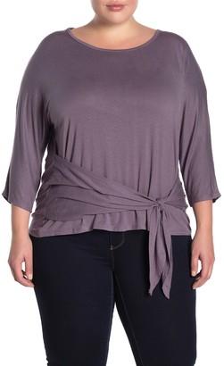 Bobeau Tie Front Knit Shirt (Plus Size)