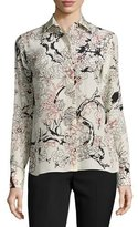 Valentino Floral Long-Sleeve Silk Blouse, Milk