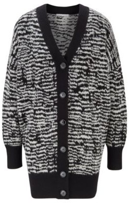 HUGO BOSS Relaxed-fit long-length cardigan with zebra pattern