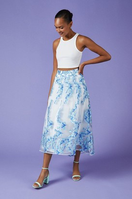 Coast Metallic Clipped Jacquard Skirt