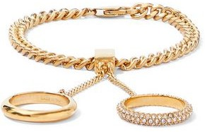 Chloé Gold-tone Crystal Finger Bracelet