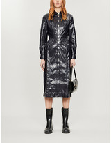 Kitri KITRI Charlie croc-embossed faux-leather midi dress