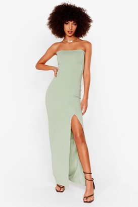 Nasty Gal Womens Slits Official Bandeau Midi Dress - Sage