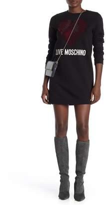 Love Moschino Heart Jewel Embellish Sweater Dress
