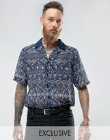 Reclaimed Vintage Inspired Revere Shirt With Geo Print Reg Fit