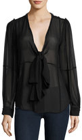 Frame Windowpane Long-Sleeve Silk Chiffon Shirt, Noir
