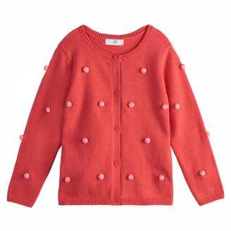 Girls' Cardigan with Pompoms, 3-12 Years