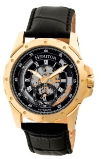 Heritor Automatic Armstrong Gold & Black Leather Watches 44mm