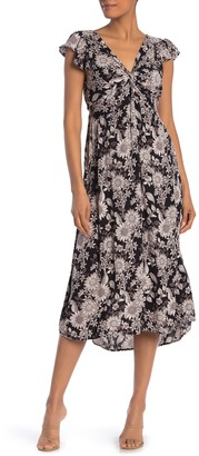 Nostalgia Apparel Twist Front Flutter Sleeve Floral Midi Dress