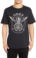 Obey Men's 'Peace & Justice Eagle' Graphic Crewneck T-Shirt
