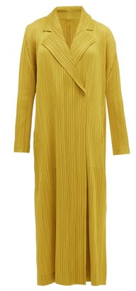 Pleats Please Issey Miyake Double-breasted Plisse Coat - Womens - Dark Yellow