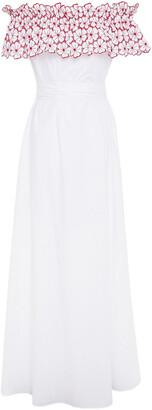 I.D. Sarrieri Off-the-shoulder Broderie Anglaise-paneled Cotton-blend Maxi Dress