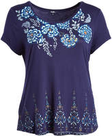 Angels Navy & Blue Floral Scoop Neck Top - Plus