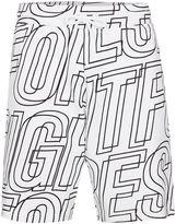 Topman White Letter Print Jersey Shorts