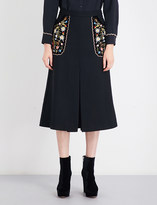 Vilshenko Arisha floral-embroidered high-rise twill skirt