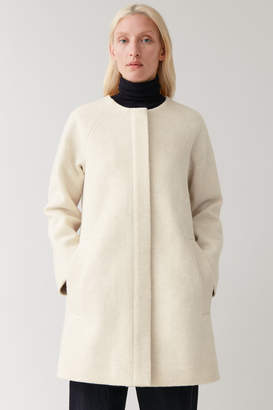 Cos COLLARLESS A-LINE WOOL COAT