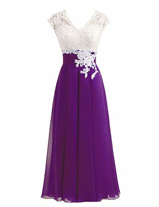 Stillluxury Chiffin Lace Bridesmaid Dresses Midi Cap Sleeve Evening Wedding Dress Purple Size 12