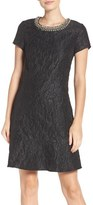 Laundry by Shelli Segal Women's Embellished Jacquard Knit Fit & Flare Dress