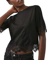 Topshop PETITE Lace-Trimmed Petal T-Shirt