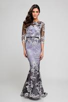 Terani Couture 1723M4634 Sheer Quarter Sleeve Floral Evening Dress