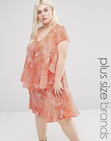Koko Plus Frill Dress In Abstract Print