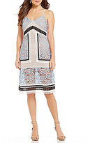 Gianni Bini Sonia V-Neck Sleeveless Block Lace Sheath Dress