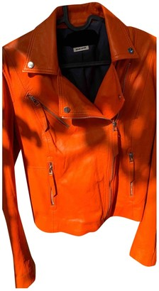 Zara Orange Leather Jacket for Women