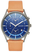Skagen Holst Gunmetal Stainless Steel and Brown Leather Strap Watch