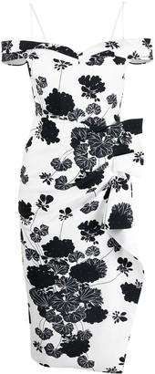 Le Petite Robe Di Chiara Boni Botanical-Print Off-Shoulder Dress