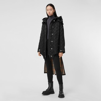 Burberry Detachable Hood Quilted Nylon and Cotton Coat