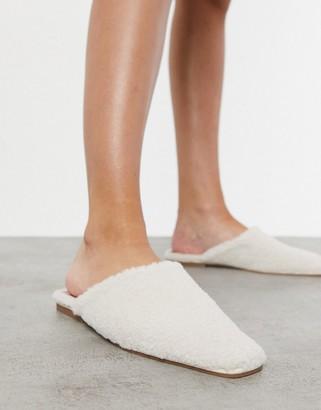 ASOS DESIGN Lulu square-toe mules in shearling