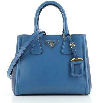 Prada Bicolor Lux Convertible Open Tote Saffiano Leather Small