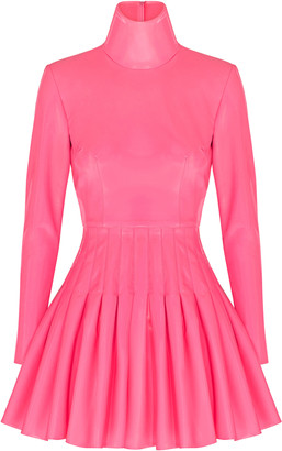 Alex Perry Miller Pleated Vinyl Mini Dress