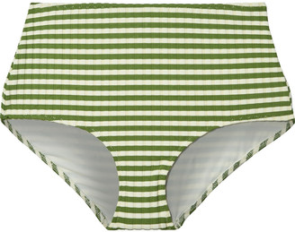 Solid & Striped The Ginger Striped Ribbed High-rise Bikini Briefs