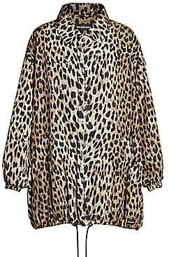 Balenciaga Women's Leopard-Print Cocoon Windbreaker