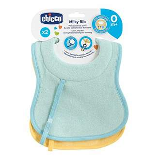 Chicco 00016300200000 Cotton Bibs + Dummy Clip Set of 2, Blue/Yellow