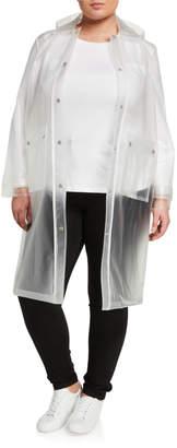 AVEC LES FILLES Plus Size Hooded Transparent PVC Raincoat