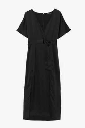 Nasty Gal Womens Plus Wrap Plunge Satin S/S Maxi Dress - Black