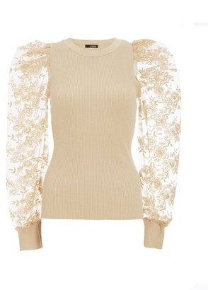 Dorothy Perkins Womens Quiz Stone Lace Puff Sleeve Jumper, Stone