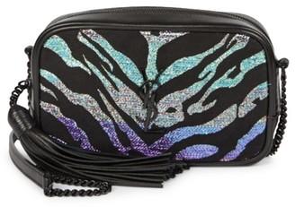 Saint Laurent Mini Lou Tiger Burnout Leather-Trim Camera Bag